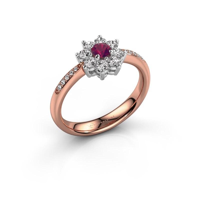 Verlovingsring Camille 2 585 rosé goud rhodoliet 3.4 mm