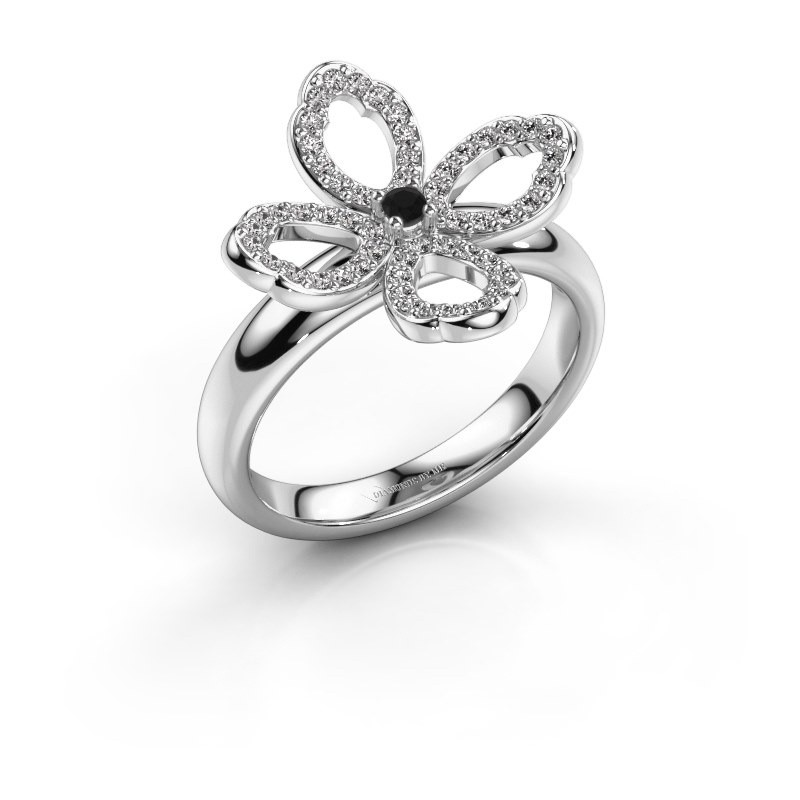 Ring Chelsea 585 witgoud zwarte diamant 0.316 crt