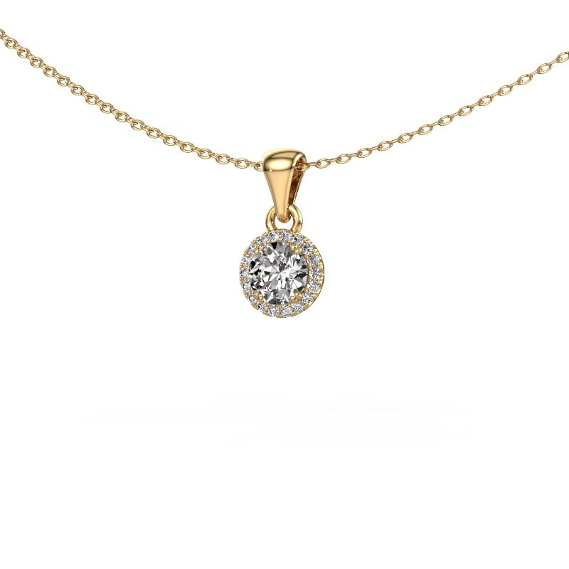 Hanger Seline rnd 375 goud diamant 0.48 crt