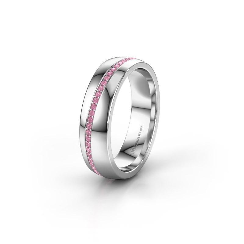 Trouwring WH0109L25A 950 platina roze saffier ±5x1.7 mm
