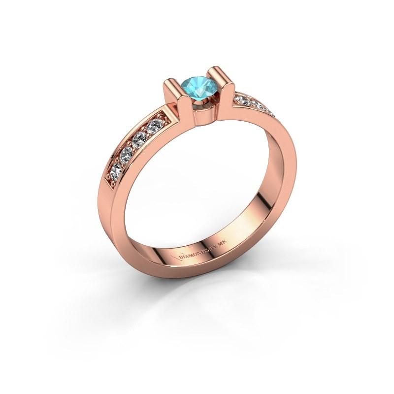 Verlovingsring Sofie 2 375 rosé goud blauw topaas 3.4 mm