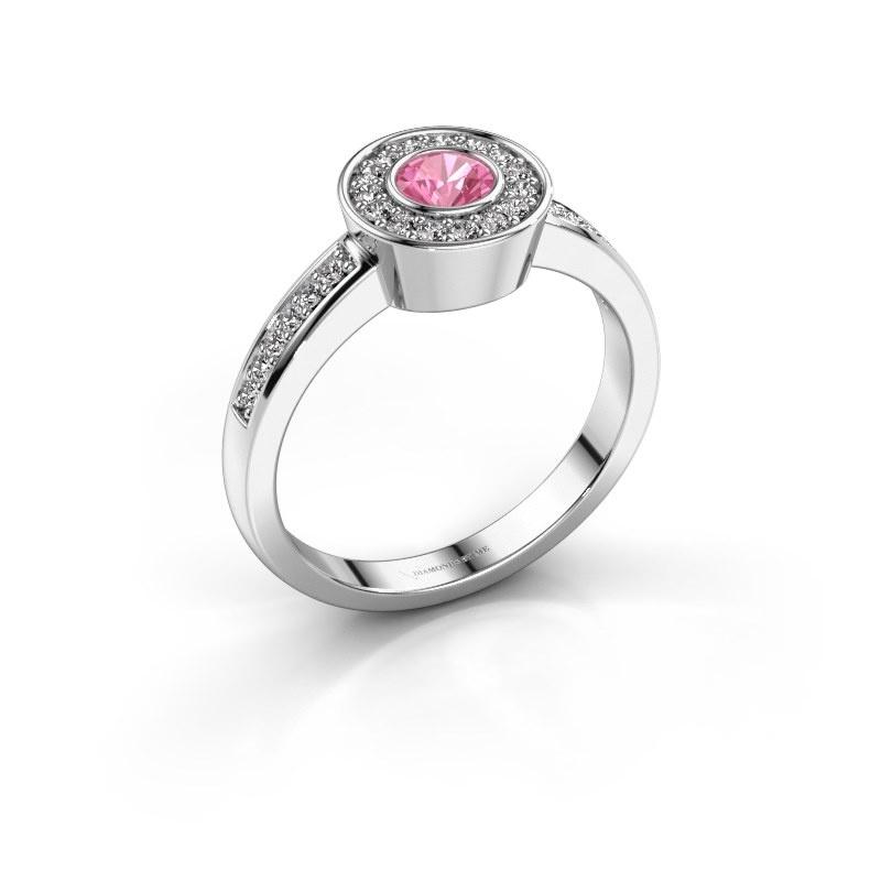 Ring Adriana 2 925 zilver roze saffier 4 mm