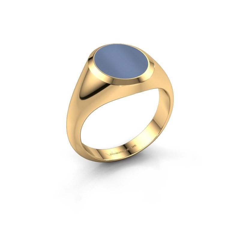 Zegelring Herman 2 585 goud licht blauwe lagensteen 12x10 mm