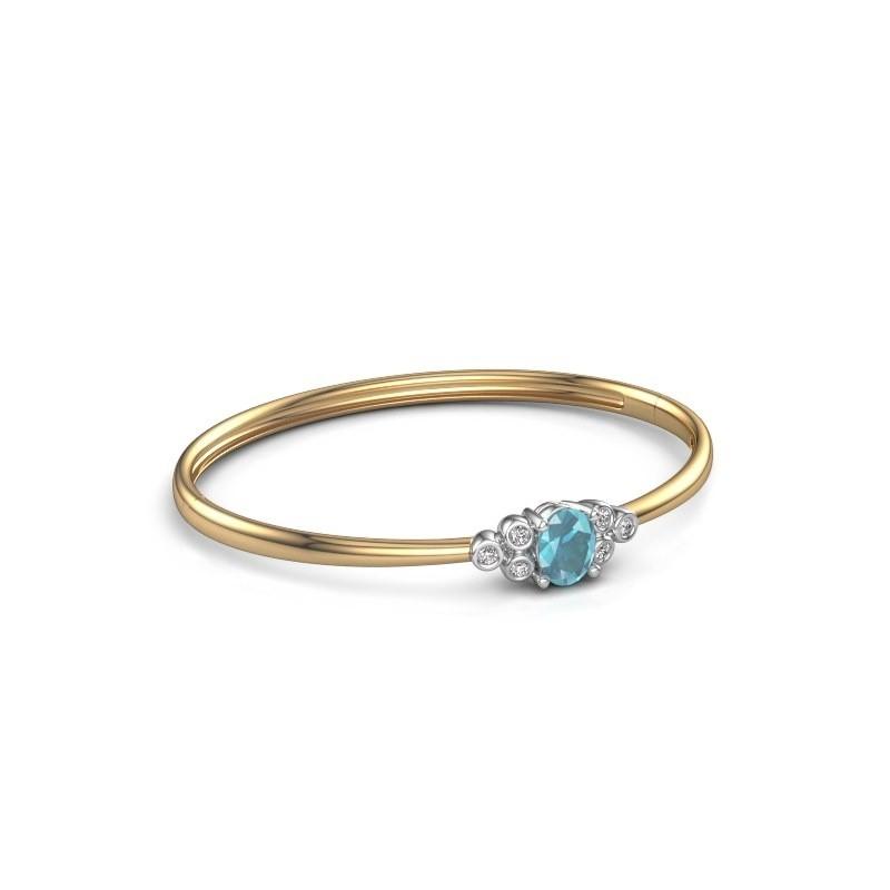 Slavenarmband Lucy 585 goud blauw topaas 8x6 mm