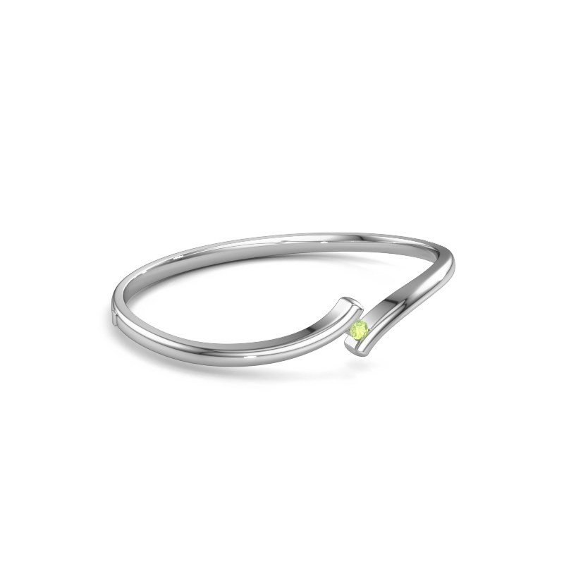 Slavenarmband Amy 585 witgoud peridoot 3.4 mm