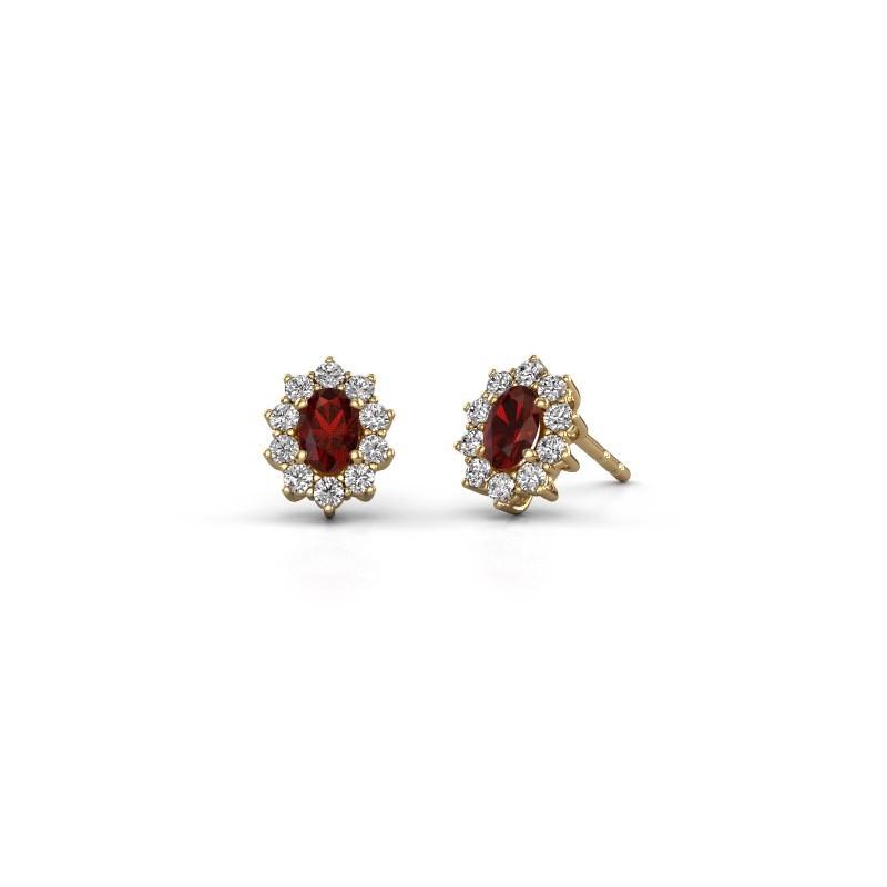 Earrings Leesa 375 gold garnet 6x4 mm