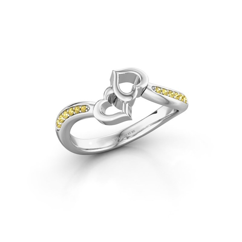Ring Xaviera 585 witgoud gele saffier 1.5 mm