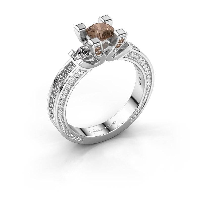 Aanzoeksring Ninthe 950 platina bruine diamant 0.889 crt