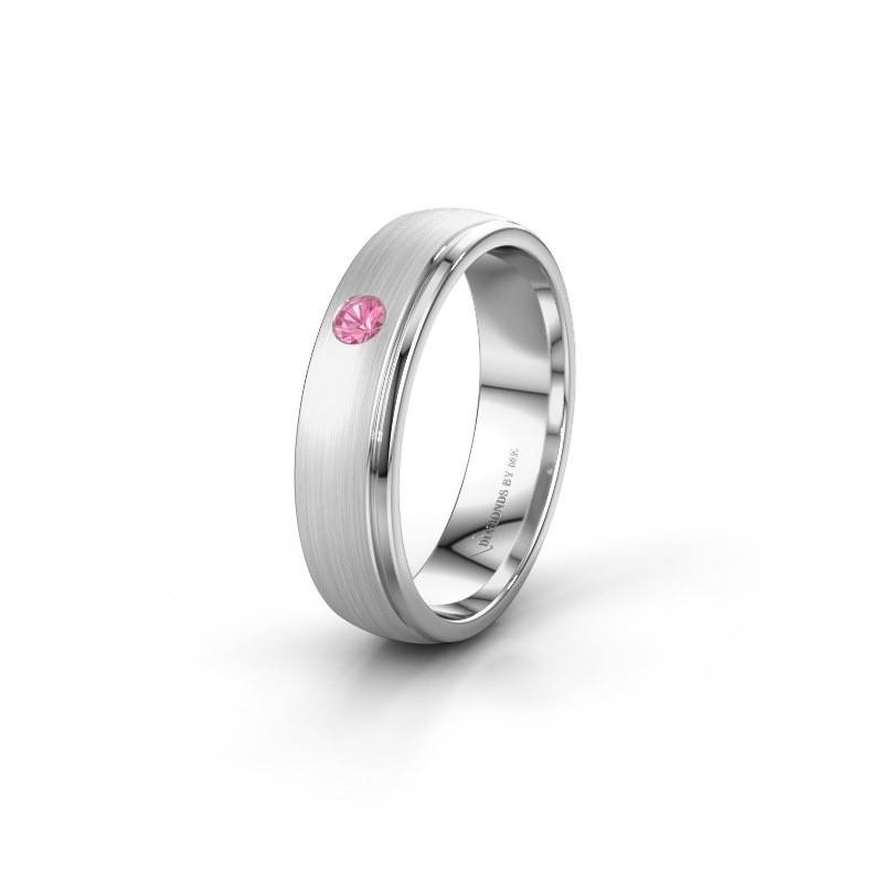 Trouwring WH0501L25AMP 925 zilver roze saffier ±5x1.7 mm
