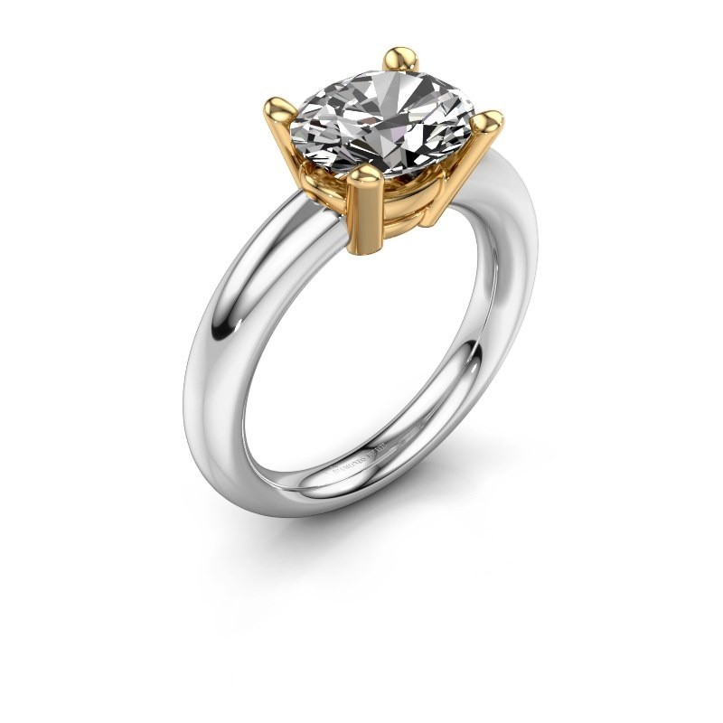 Ring Janiece 585 witgoud zirkonia 10x8 mm
