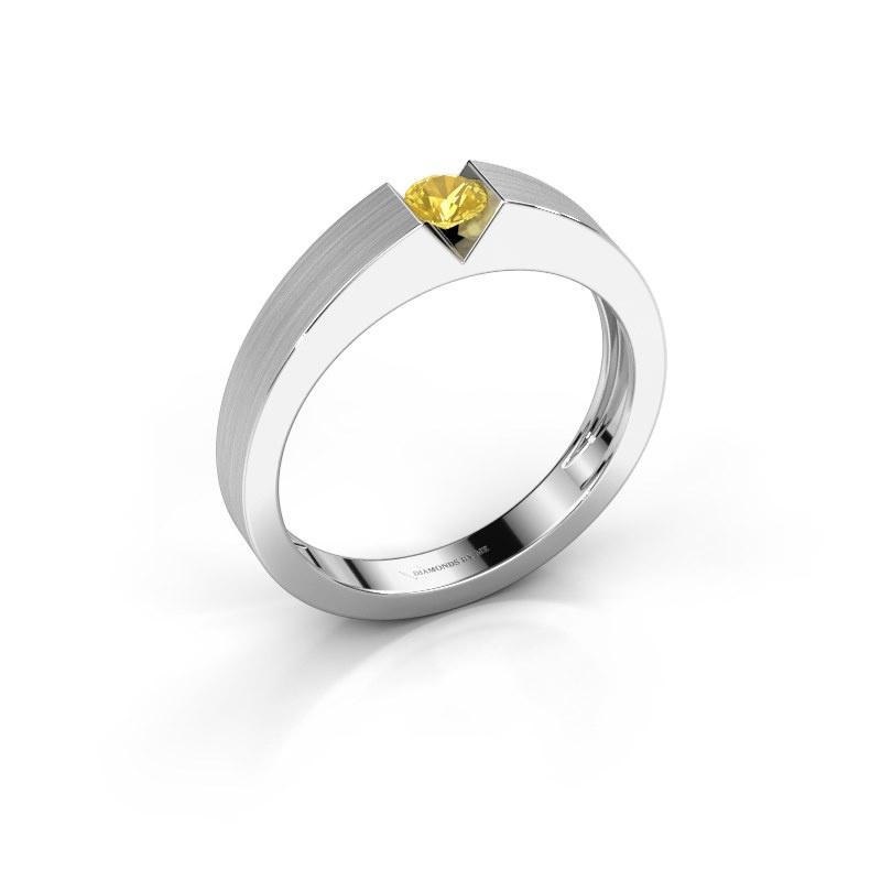 Verlovingsring Lizzy 1 925 zilver gele saffier 3.7 mm