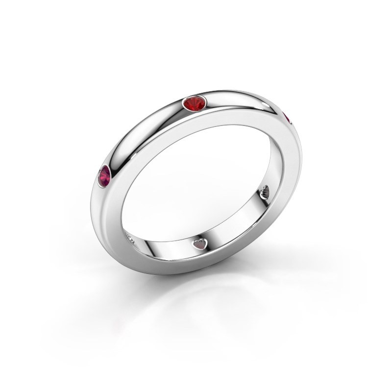 Stackable ring Charla 950 platinum ruby 2 mm