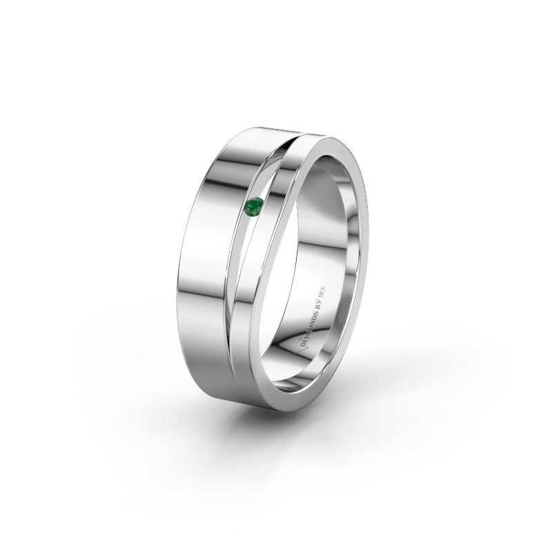 Wedding ring WH6000L16AP 950 platinum emerald ±6x1.7 mm