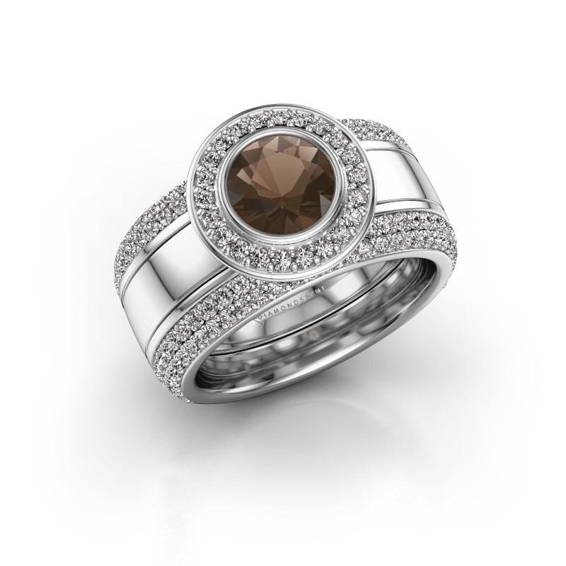 Ring Roxie 925 zilver rookkwarts 6.5 mm