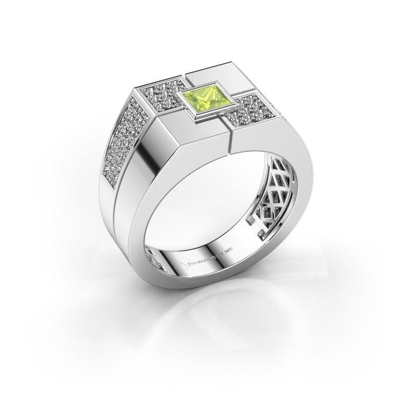 Men's ring Rogier 375 white gold peridot 4 mm