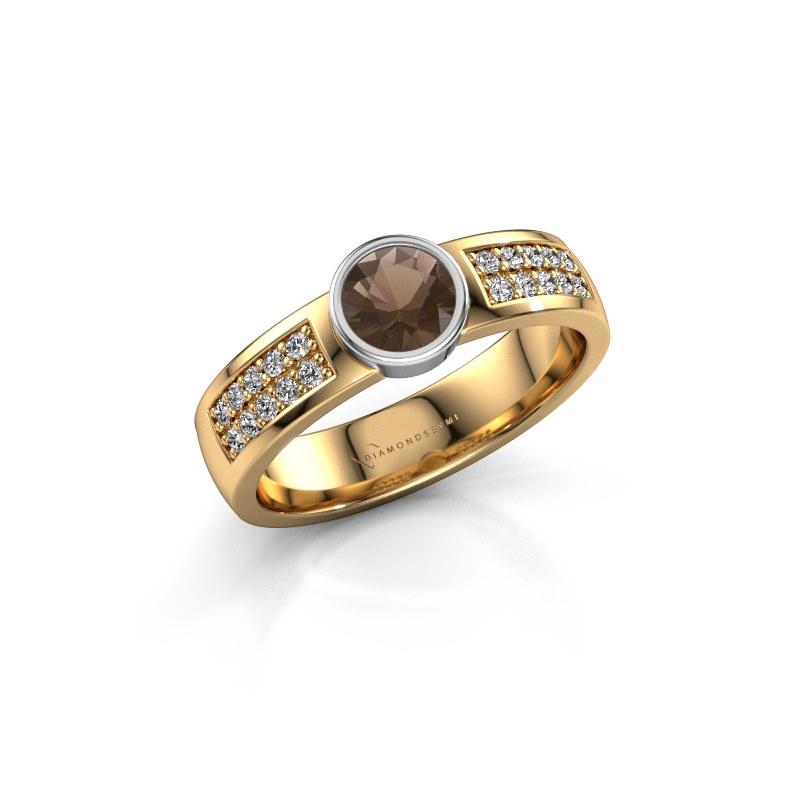 Engagement ring Ise 3 585 gold smokey quartz 4.7 mm