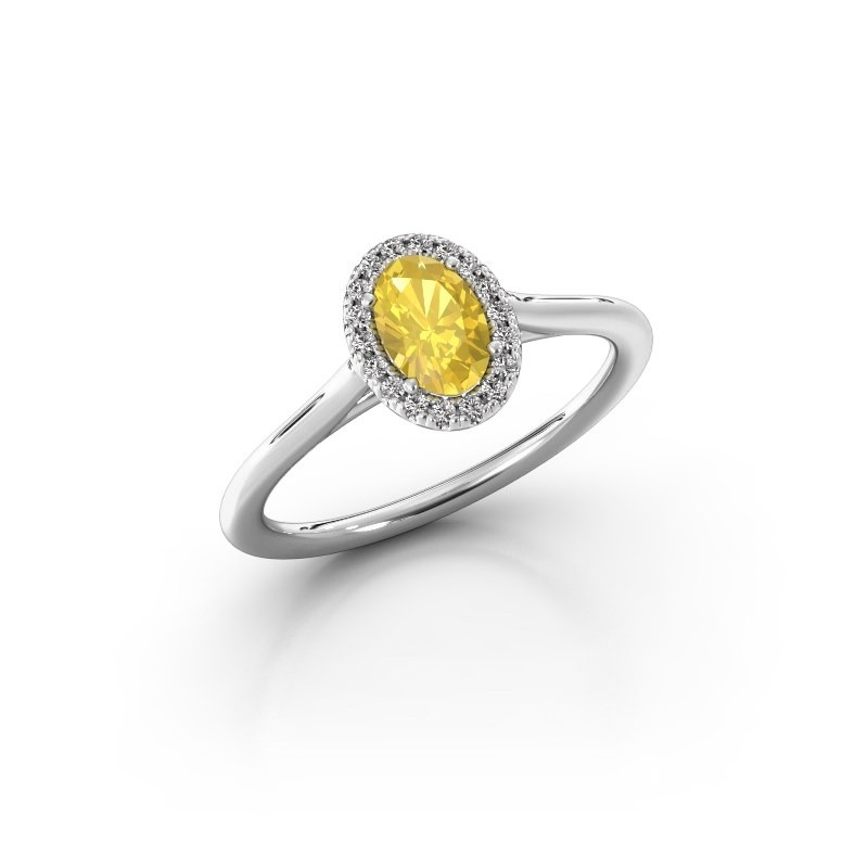 Engagement ring Seline 1 925 silver yellow sapphire 6x4 mm