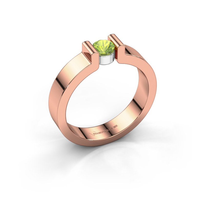 Verlovingsring Isabel 1 585 rosé goud peridoot 4 mm