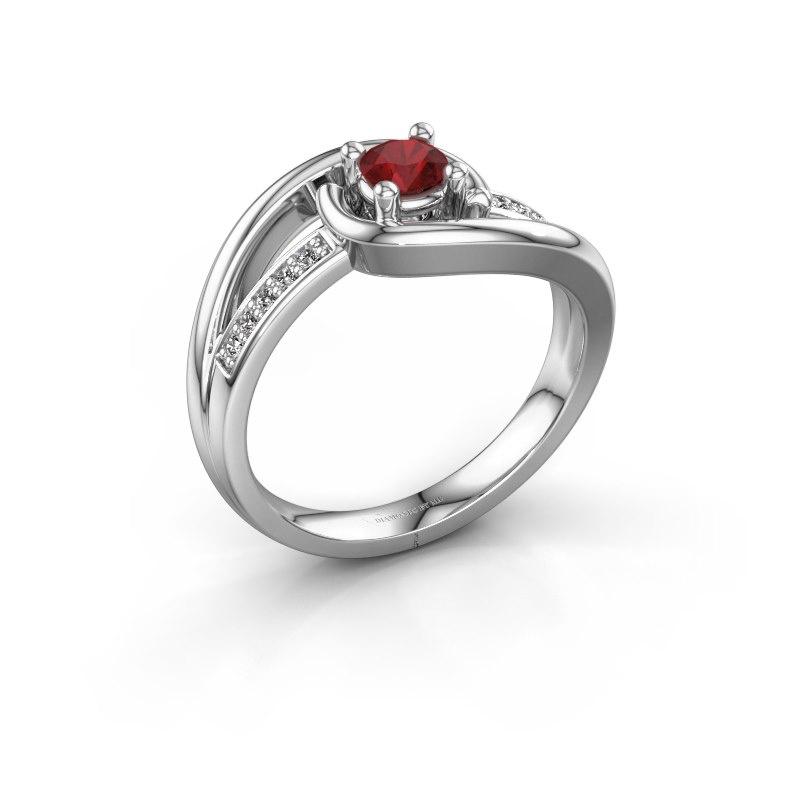 Ring Aylin 585 witgoud robijn 4 mm