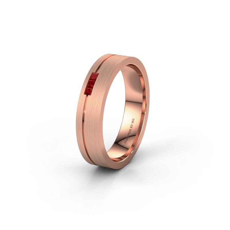 Wedding ring WH0158L14X 375 rose gold ruby ±0.18x0.05 in