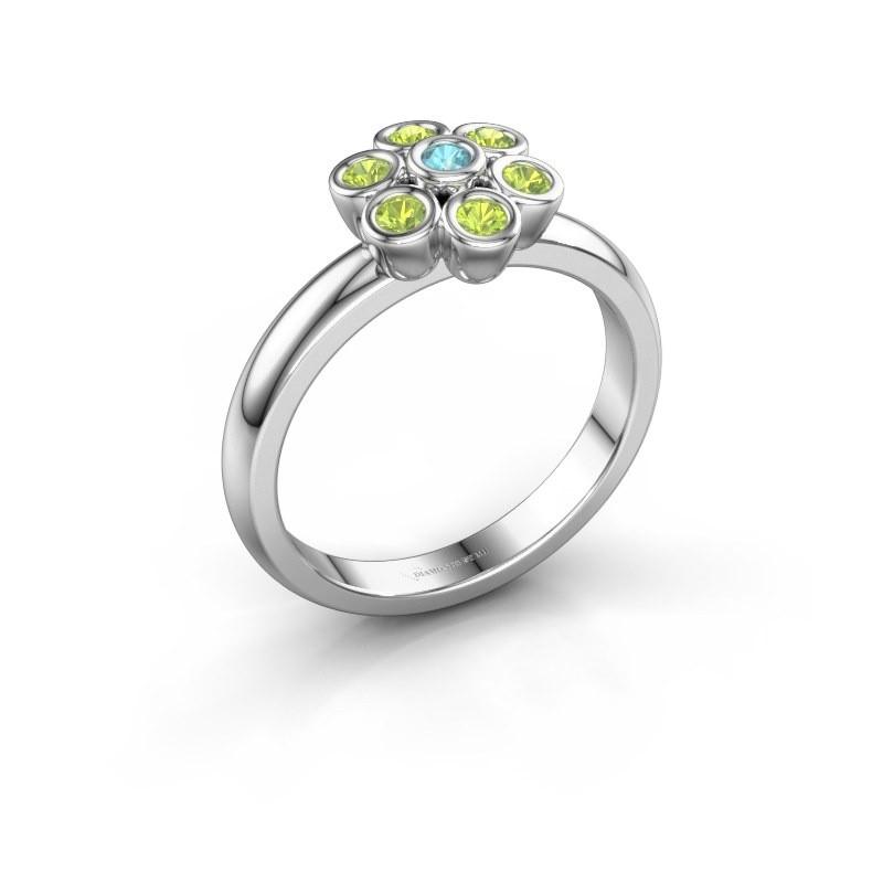 Ring Aaliyah 925 silver blue topaz 2 mm