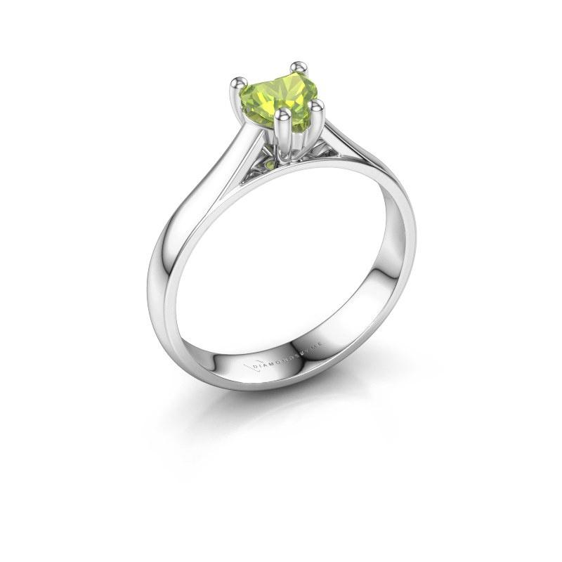 Engagement ring Sam Heart 585 white gold peridot 5 mm
