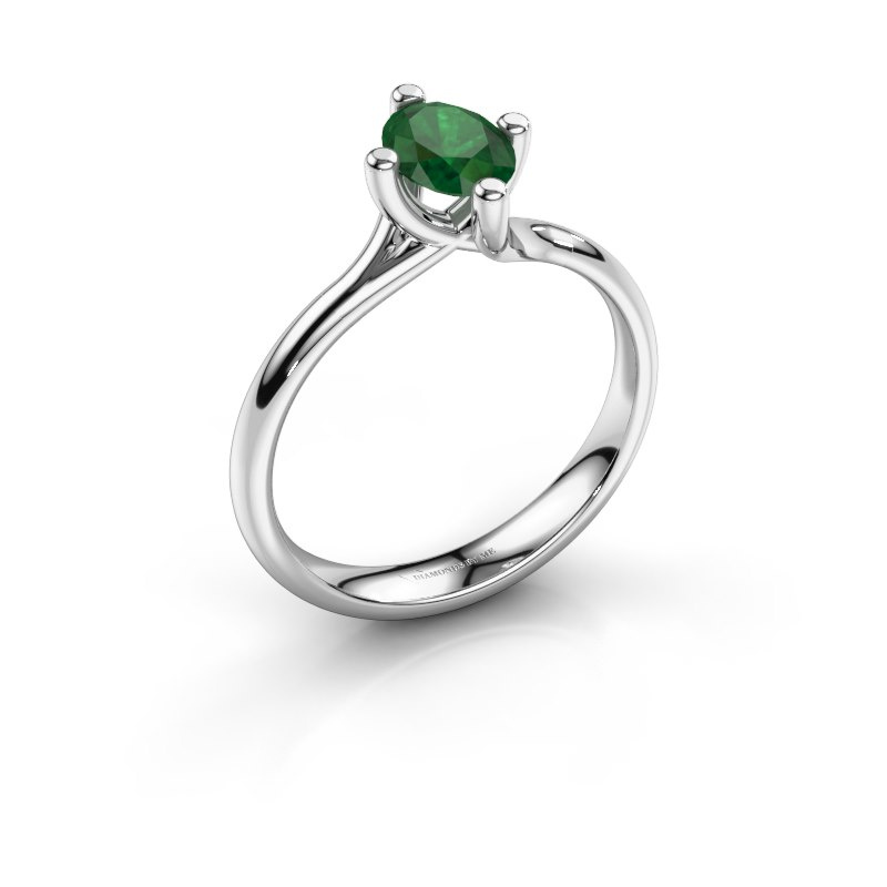 Engagement ring Dewi Oval 925 silver emerald 7x5 mm