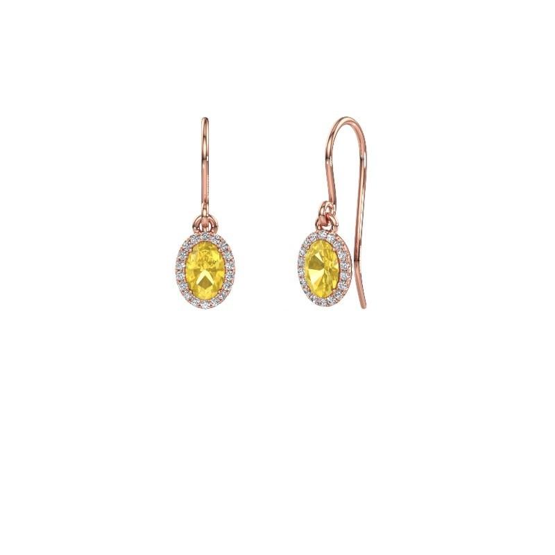 Oorhangers Seline ovl 375 rosé goud gele saffier 6x4 mm