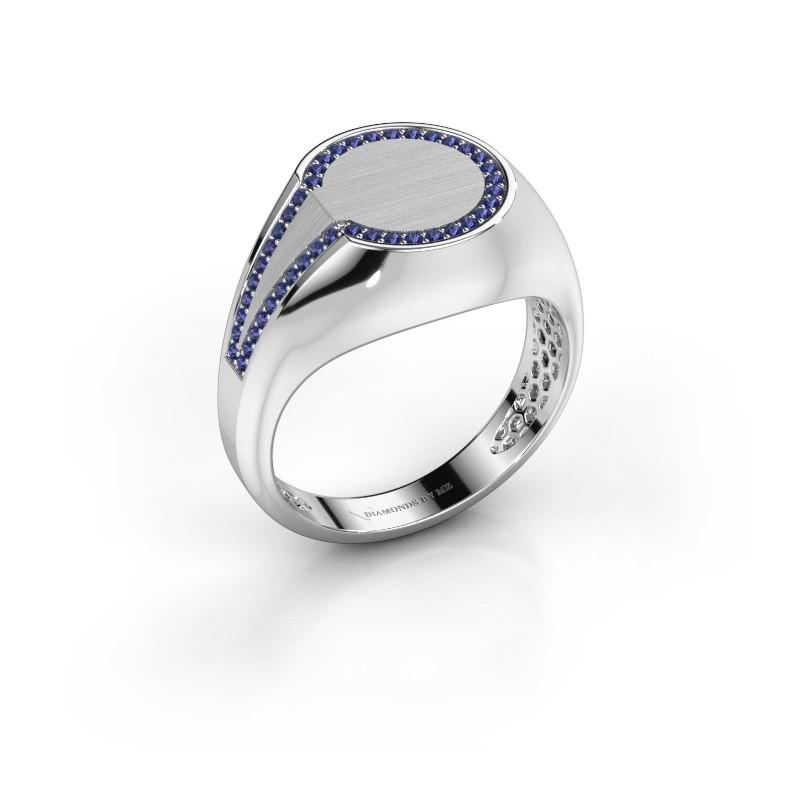 Heren ring Gijs 950 platina saffier 1 mm