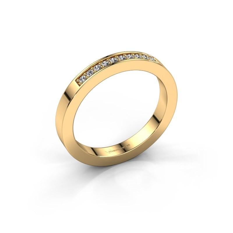 Stackable ring Loes 3 375 gold zirconia 1.3 mm