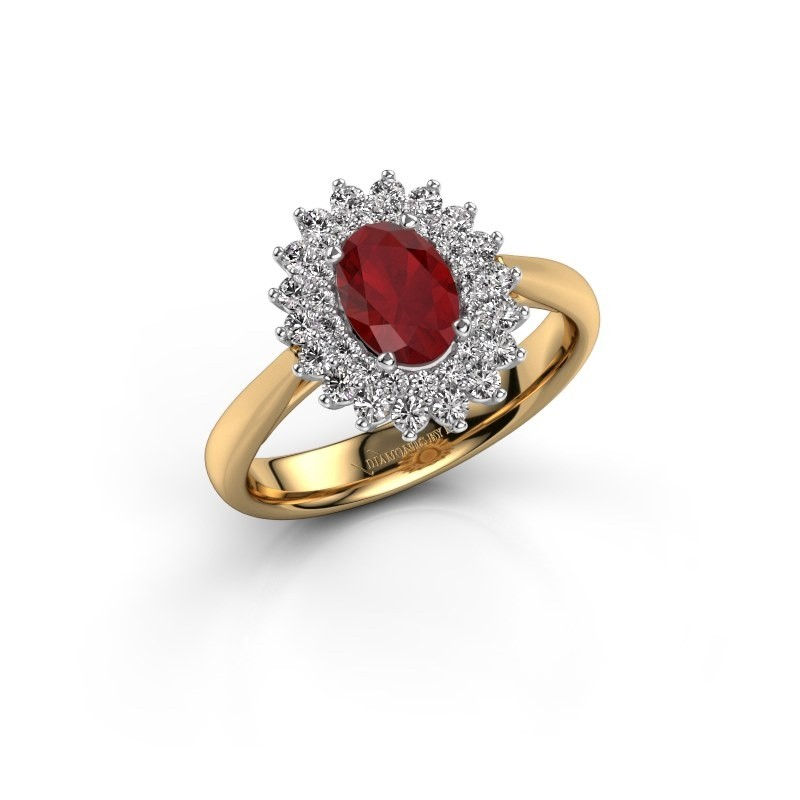 Engagement ring Alina 1 585 gold ruby 7x5 mm