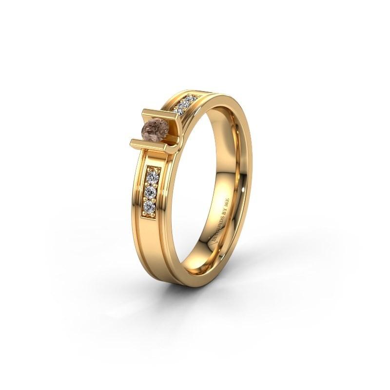 Trouwring WH2108L14A 585 goud bruine diamant ±4x1.7 mm