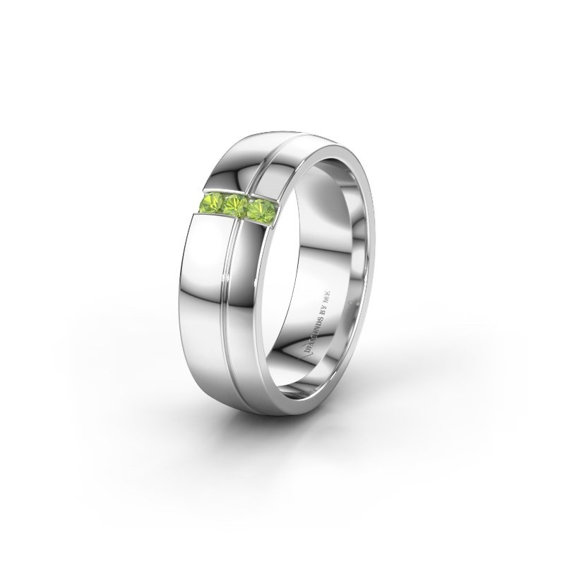 Wedding ring WH0223L56A 925 silver peridot ±0.24x0.07 in