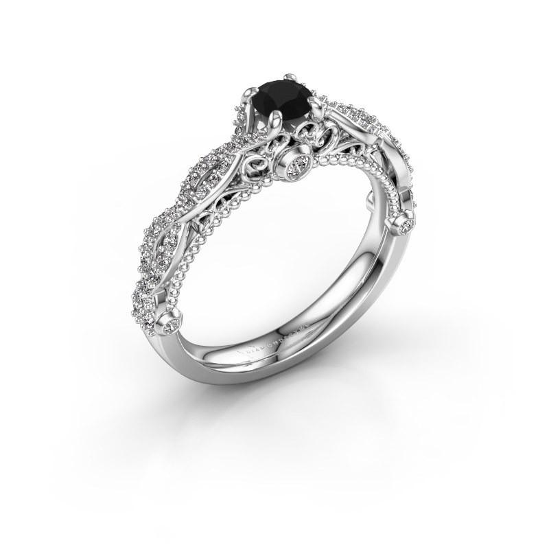 Verlovingsring Chantelle 585 witgoud zwarte diamant 0.68 crt