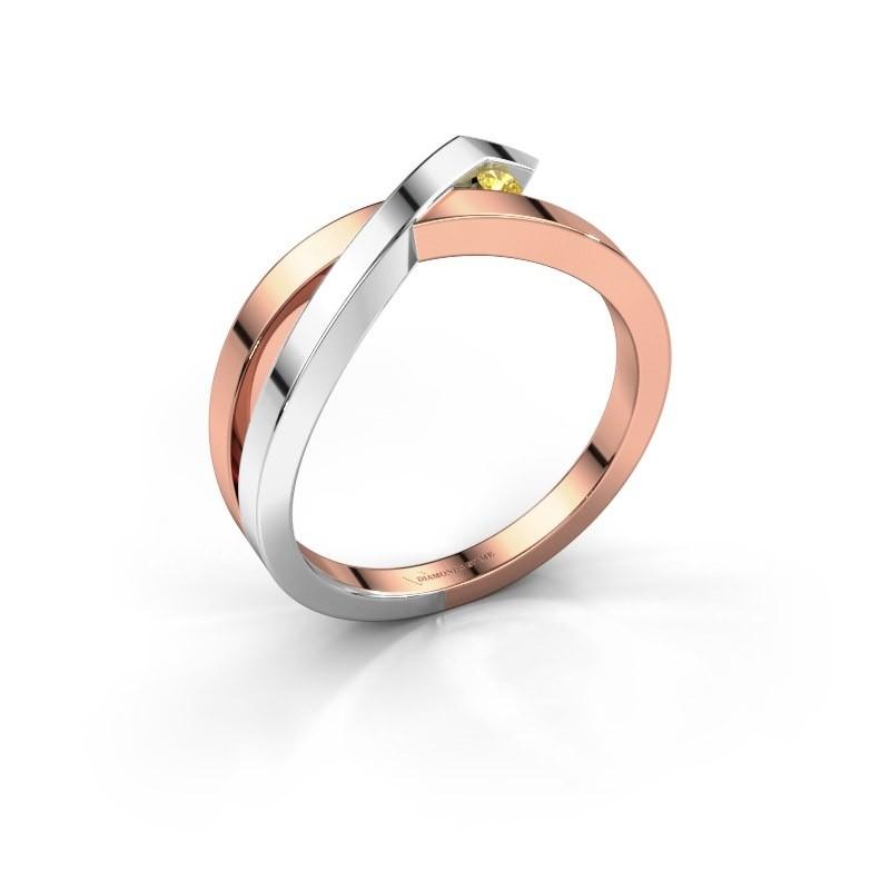 Ring Alyssa 585 rose gold yellow sapphire 2 mm