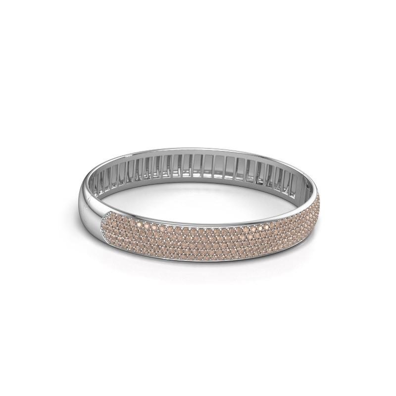 Slavenarmband Emely 10mm 585 witgoud bruine diamant 4.355 crt