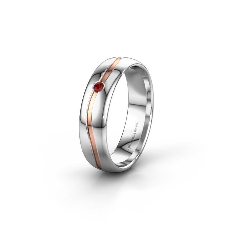 Wedding ring WH0905L35X 585 white gold garnet ±0.20x0.07 in