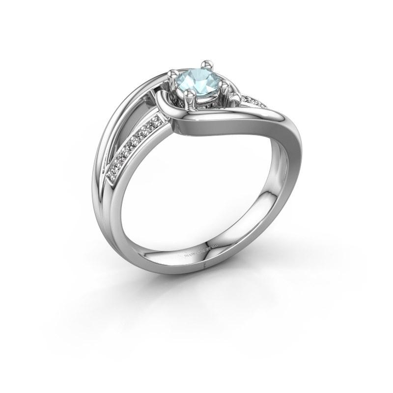 Ring Aylin 585 witgoud aquamarijn 4 mm