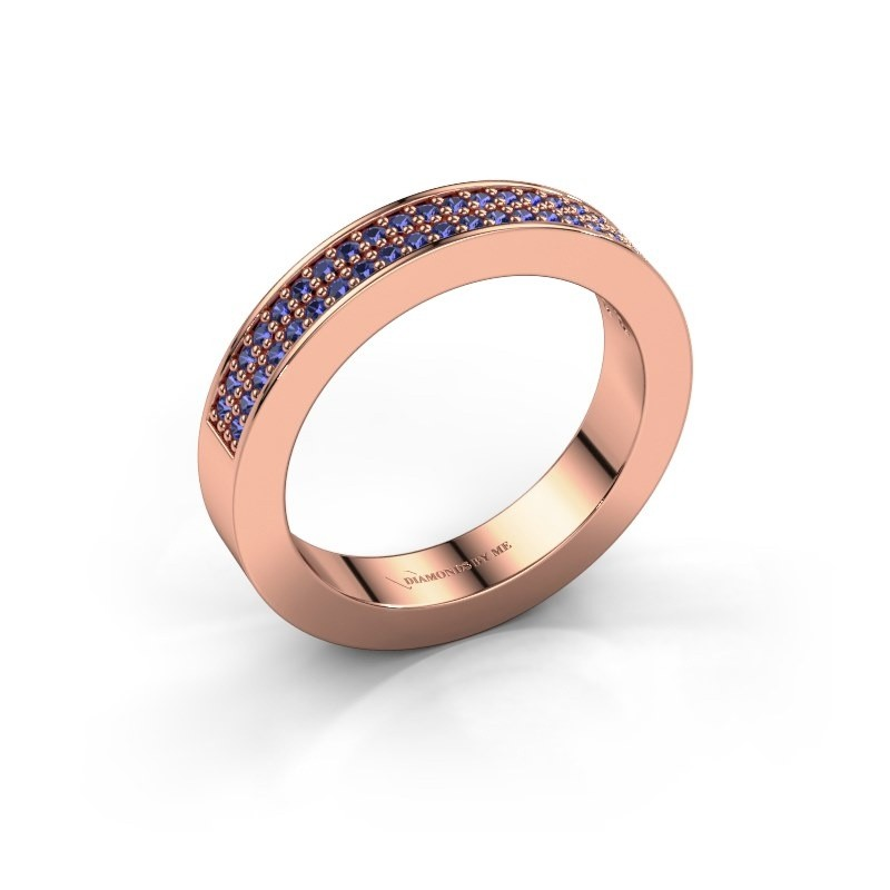 Stackable ring Catharina 2 375 rose gold sapphire 1.1 mm