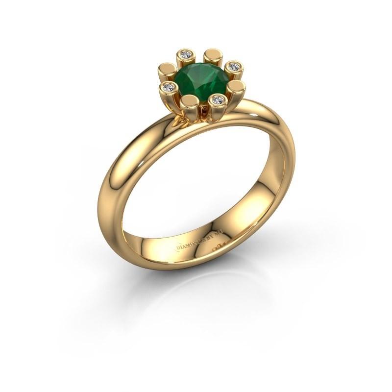 Stapelring Carola 2 585 goud smaragd 5 mm