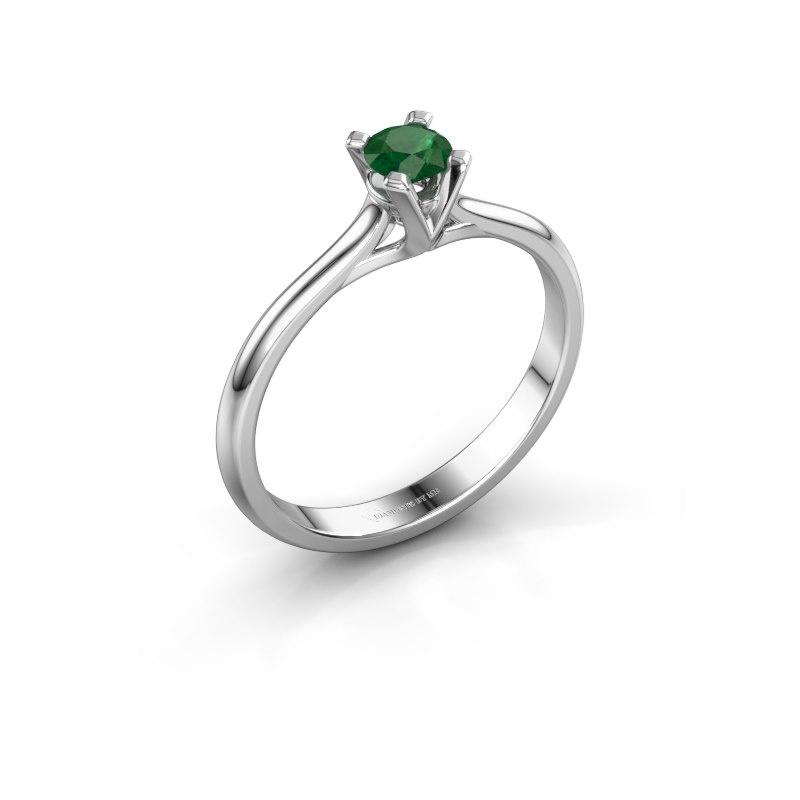 Verlovingsring Isa 1 585 witgoud smaragd 4 mm