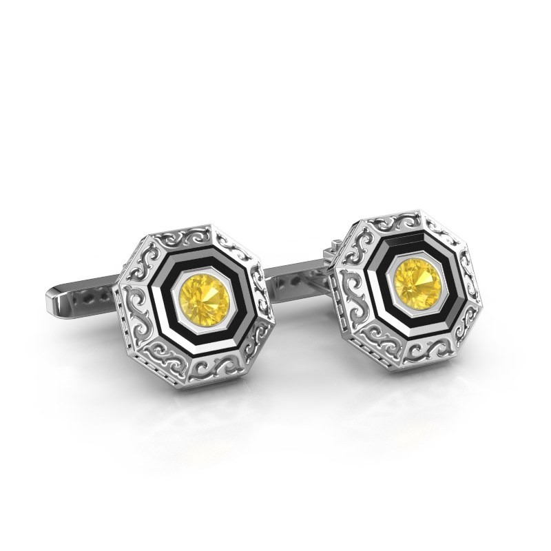 Cufflinks Dion 925 silver yellow sapphire 5 mm