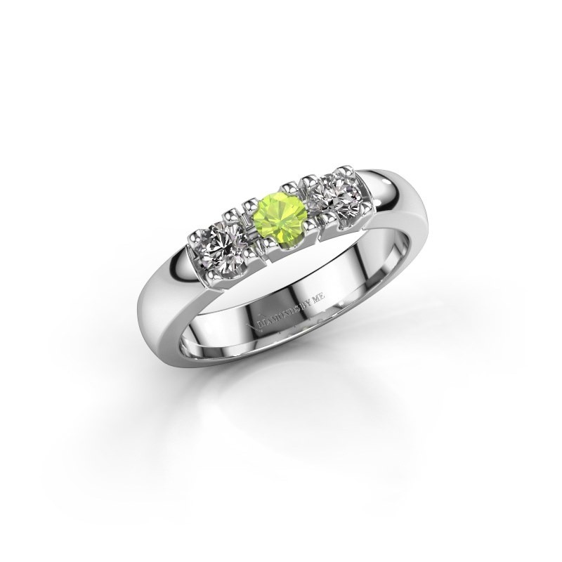 Engagement ring Rianne 3 585 white gold peridot 3.4 mm