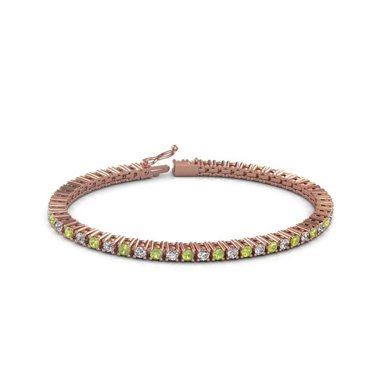 Tennis bracelet Petra 375 rose gold peridot 3 mm