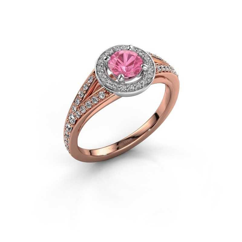 Aanzoeksring Angelita RND 585 rosé goud roze saffier 5 mm