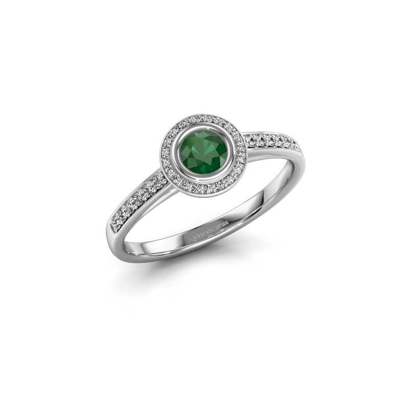 Engagement ring Noud 2 RND 950 platinum emerald 4 mm