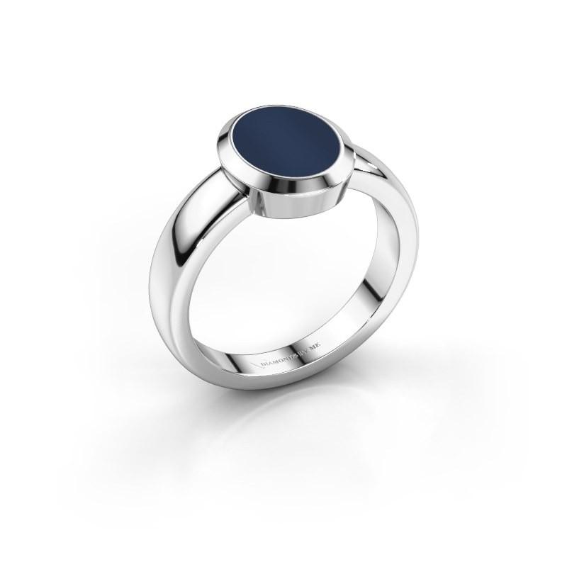 Pinkring Oscar 1 950 platina donker blauw lagensteen 10x8 mm
