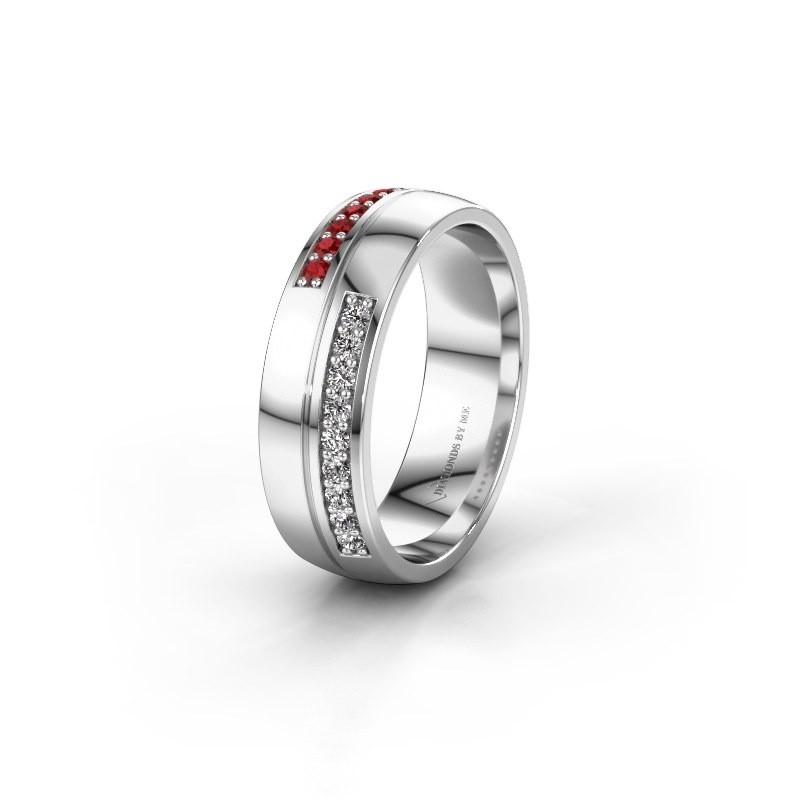 Wedding ring WH0213L26AP 950 platinum ruby ±0.24x0.07 in