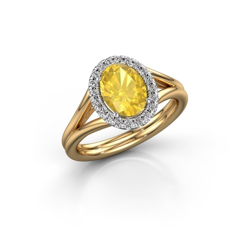 Engagement ring Rachele 1 585 gold yellow sapphire 8x6 mm