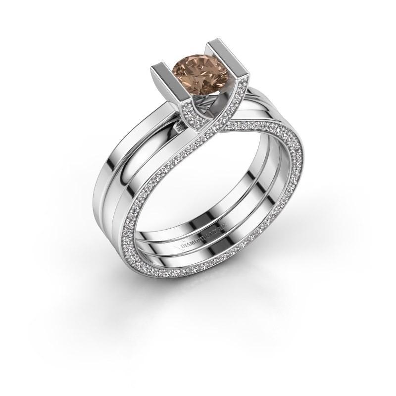 Verlovingsring Kenisha 950 platina bruine diamant 1.01 crt